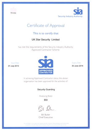 UK Star Security achieves Year 5 Status SIA Approved Contractor